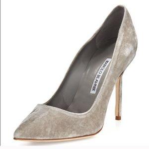 MANOLO BLAHNIK BB pumps gray velvet size 39